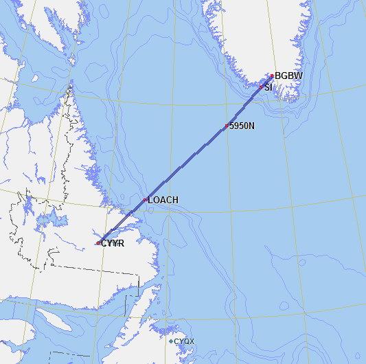 Goose Bay To Reykjavik Iceland Cyyr Loach 59n50w 62n40w 63n30w Embla Birk